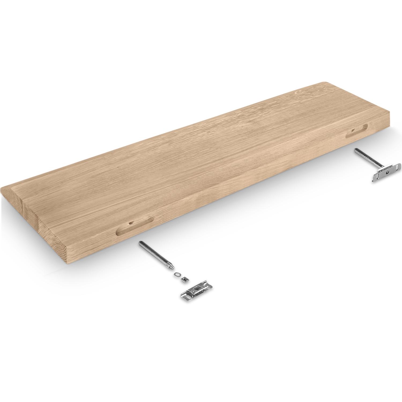 Eiken wandplank zwevend - VERJONGDE RAND - op maat - 4 cm dik (1-laag) - foutvrij - voorgeboord inclusief (blinde) bevestigingsbeugels - verlijmd Europees foutvrij eikenhout geborsteld - kd 8-12% - 15-27x50-300 cm