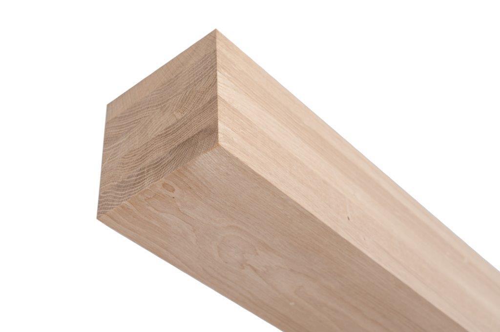 Eiken tafelpoot 7x7 cm - Massief verlijmd (delen van 2-3 cm)- Foutvrij (A-kwaliteit) eikenhout kd 12% (per stuk)