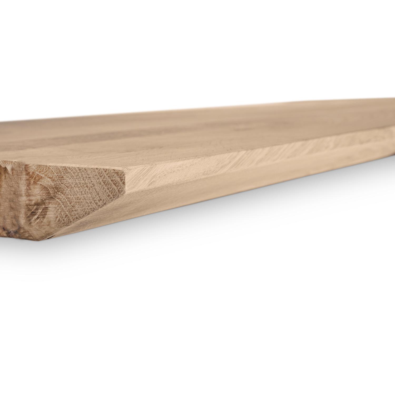 Eiken wandplank zwevend - VERJONGDE RAND - op maat - 4 cm dik (1-laag) - rustiek - voorgeboord inclusief (blinde) bevestigingsbeugels - verlijmd Europees eikenhout rustiek - kd 8-12% - 15-27x50-300 cm