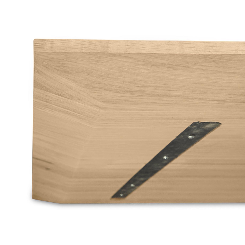 Eiken  tafelblad verjongd - op maat - 4 cm dik (1-laag) - met verjongde rand - foutvrij Europees eikenhout - verlijmd kd 8-12% - 50-120x50-350 cm