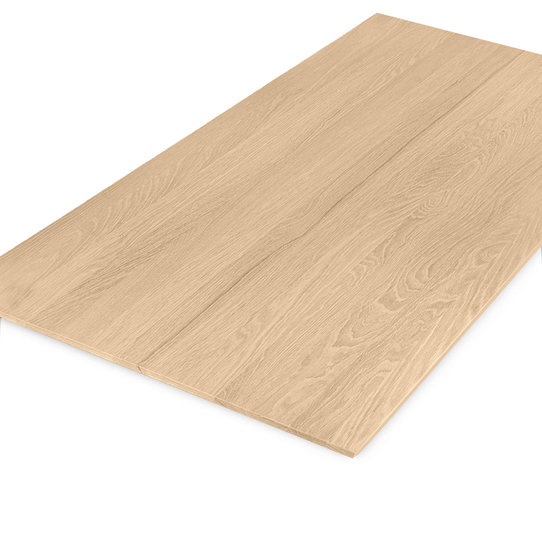 Eiken  tafelblad verjongd - op maat - 4 cm dik (2-laags) - met verjongde rand - foutvrij Europees eikenhout - verlijmd kd 8-12% - 50-120x50-300 cm - GEBORSTELD