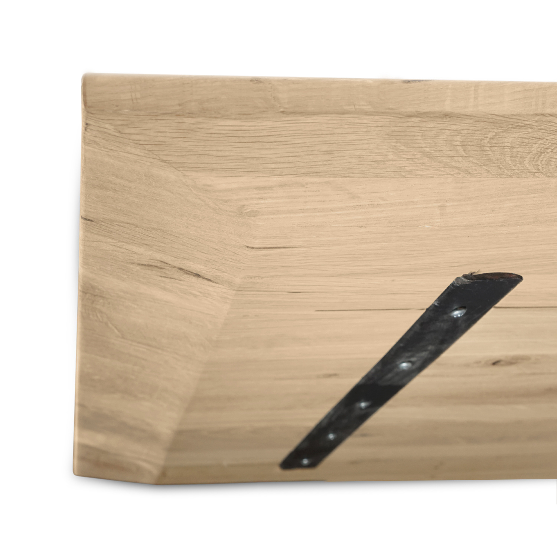 Eiken  tafelblad verjongd - op maat - 4 cm dik (1-laag) - met verjongde rand - rustiek Europees eikenhout - verlijmd kd 8-12% - 50-120x50-350 cm - GEBORSTELD