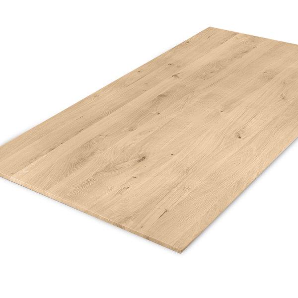 Eiken tafelblad verjongd - op maat - 4 cm dik (1-laag) - rustiek eikenhout - GEBORSTELD
