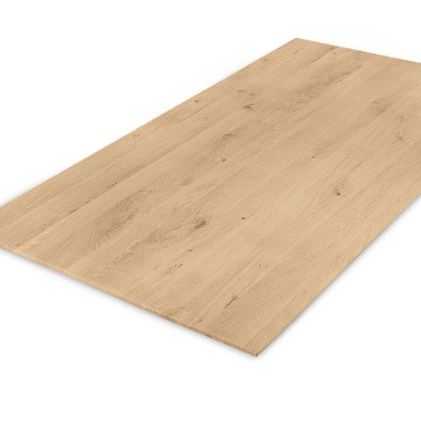 Eiken tafelblad verjongd - op maat - 3 cm dik (1-laag) - rustiek eikenhout - GEBORSTELD