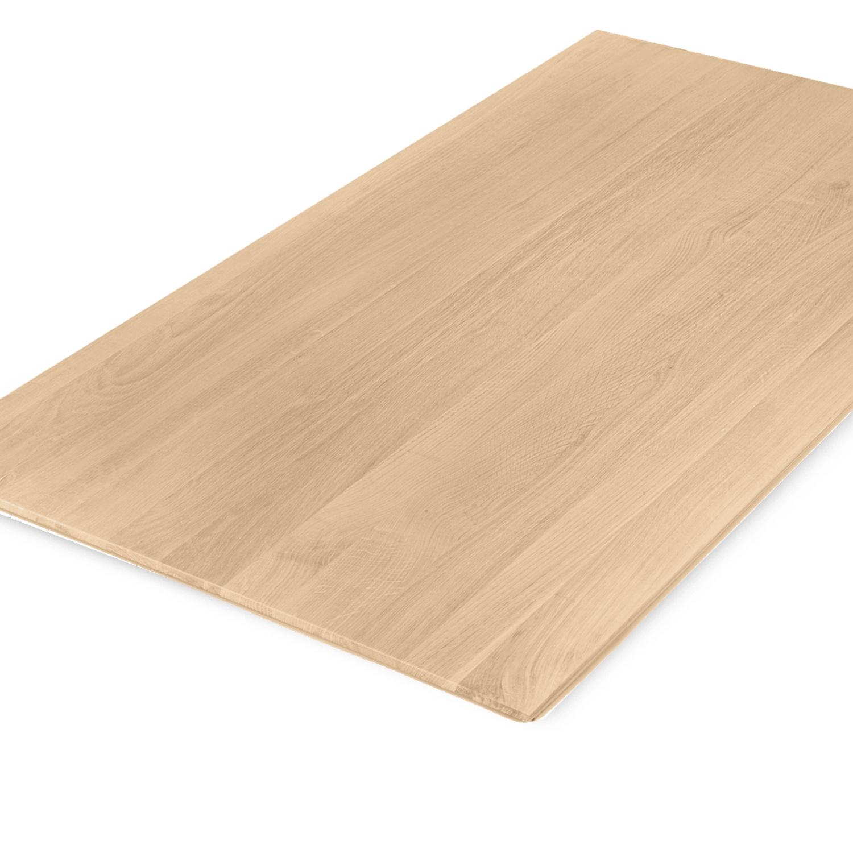 Eiken  tafelblad verjongd - op maat - 4 cm dik (1-laag) - met verjongde rand - foutvrij Europees eikenhout - verlijmd kd 8-12% - 50-120x50-350 cm  - GEBORSTELD