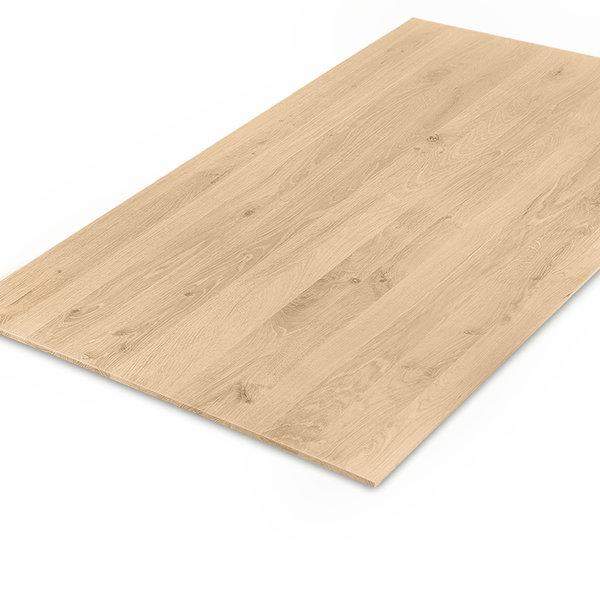Eiken tafelblad verjongd - op maat - 4 cm dik (2-laags) - rustiek eikenhout - GEBORSTELD