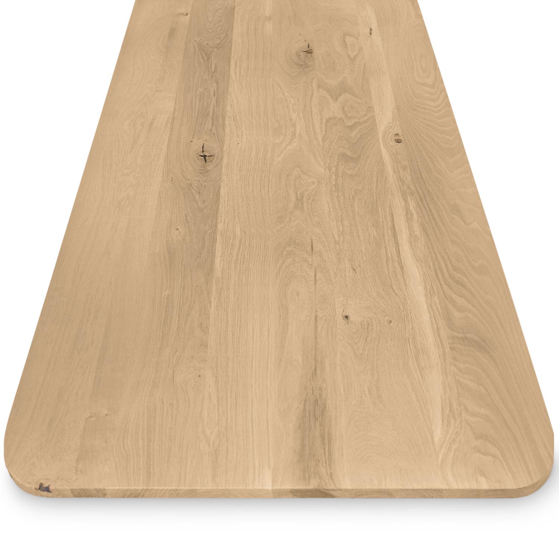 Eiken tafelblad met ronde hoeken - op maat - 2 cm dik (1-laag) - rustiek Europees eikenhout - GEBORSTELD - verlijmd kd 8-12% - 50-120x50-350 cm  - Afgeronde hoeken radius 5, 8, of 10 cm