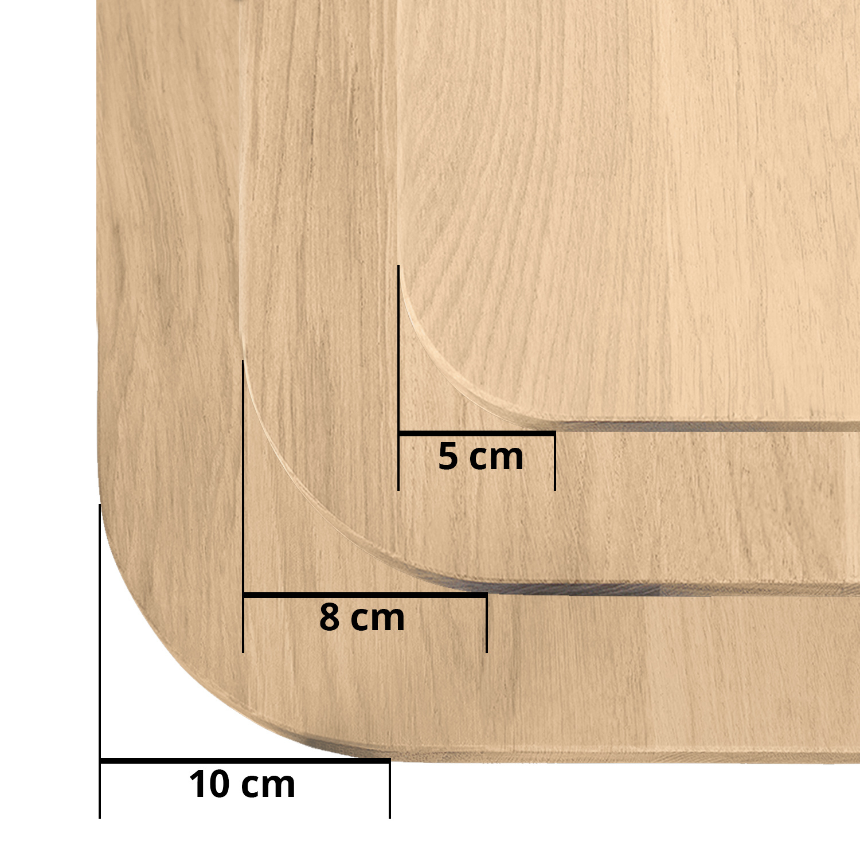 Eiken tafelblad met ronde hoeken - op maat - 3 cm dik (massief) - rustiek Europees eikenhout - verlijmd kd 8-12% - 50-120x50-350 cm  - Afgeronde hoeken radius 5, 8, of 10 cm
