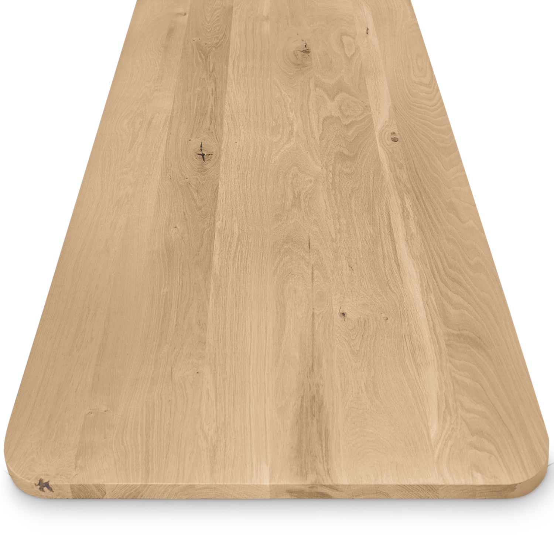 Eiken tafelblad met ronde hoeken - op maat - 3 cm dik (massief) - rustiek Europees eikenhout - GEBORSTELD - verlijmd kd 8-12% - 50-120x50-350 cm  - Afgeronde hoeken radius 5, 8, of 10 cm