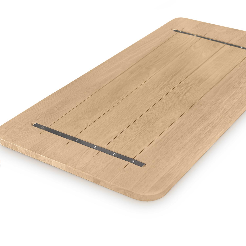 Eiken tafelblad met ronde hoeken - op maat - 4 cm dik (massief) - rustiek Europees eikenhout - GEBORSTELD - verlijmd kd 8-12% - 50-120x50-350 cm  - Afgeronde hoeken radius 5, 8, of 10 cm