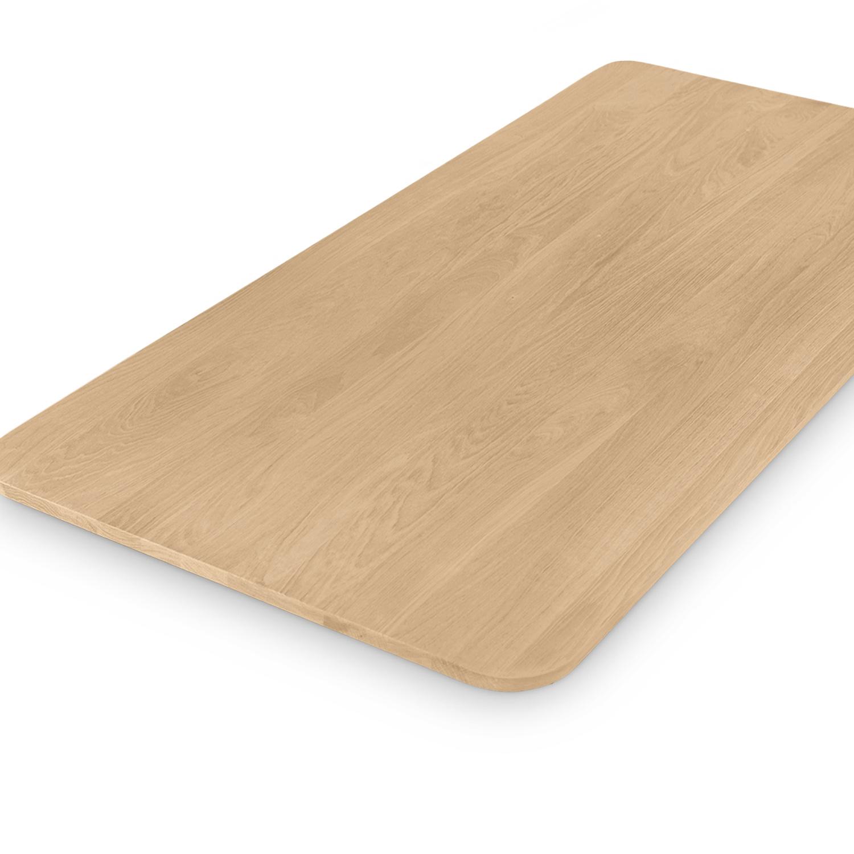 Eiken tafelblad met ronde hoeken - op maat - 2 cm dik (1-laag) - foutvrij Europees eikenhout - verlijmd kd 8-12% - 50-120x50-350 cm - Afgeronde hoeken radius 5, 8, of 10 cm