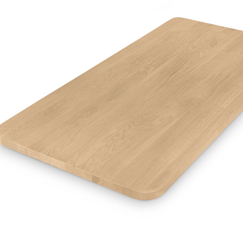 Eiken tafelblad met ronde hoeken - op maat - 4 cm dik (massief) - foutvrij Europees eikenhout - GEBORSTELD - verlijmd kd 8-12% - 50-120x50-350 cm - Afgeronde hoeken radius 5, 8, of 10 cm