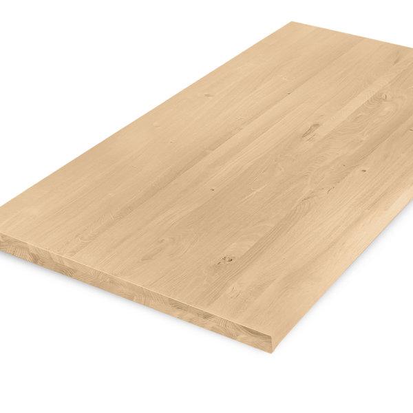 Eiken tafelblad op maat - 4 cm dik (2-laags) - rustiek eikenhout