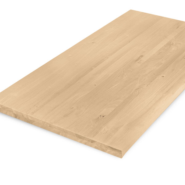 Eiken tafelblad op maat - 4 cm dik (2-laags) - rustiek eikenhout - GEBORSTELD