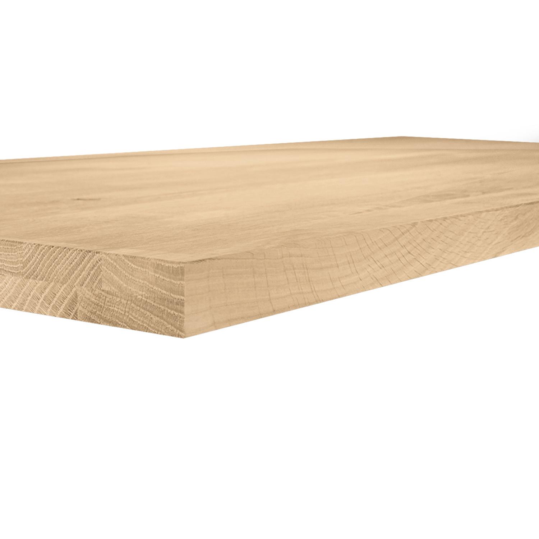 Eiken tafelblad op maat - 4 cm dik (2-laags) - rustiek Europees eikenhout GEBORSTELD - verlijmd kd 8-12% - 50-120x50-300 cm