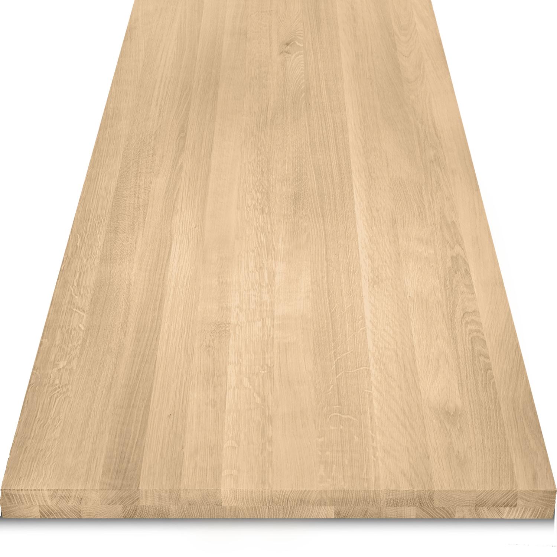 Eiken tafelblad op maat - 4 cm dik (2-laags) - foutvrij Europees eikenhout - verlijmd kd 8-12% - 50-120x50-350 cm