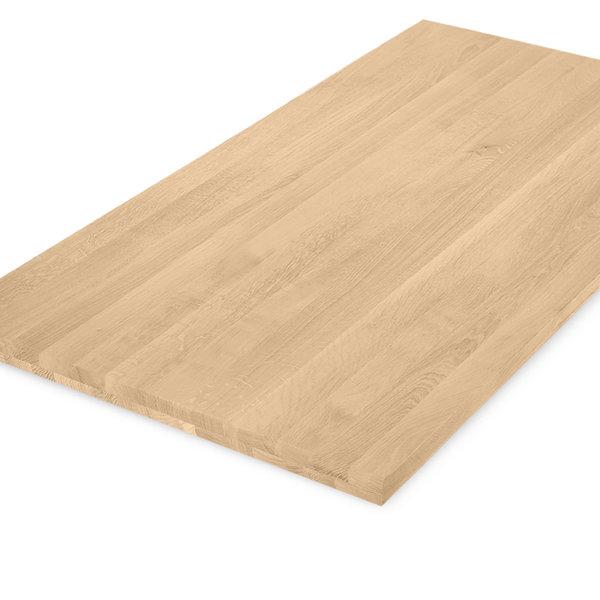 Eiken tafelblad op maat - 4 cm dik (2-laags) - foutvrij eikenhout - GEBORSTELD