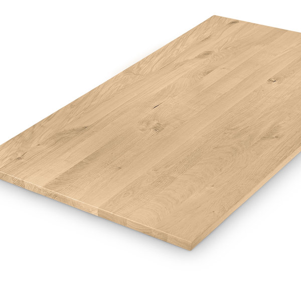 Eiken tafelblad op maat - 3 cm dik (1-laag) - rustiek eikenhout