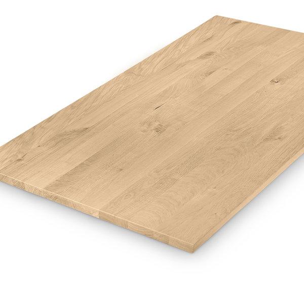Eiken tafelblad op maat - 3 cm dik (1-laag) - rustiek eikenhout - GEBORSTELD