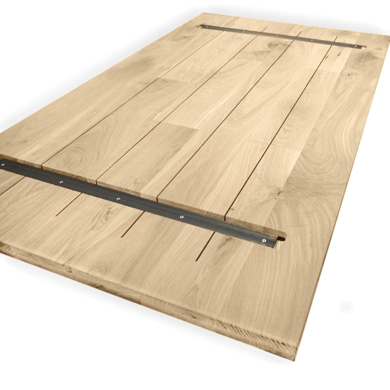 Eiken tafelblad op maat - 3 cm dik (1-laag) - rustiek Europees eikenhout GEBORSTELD - verlijmd kd 8-12% - 50-120x50-350 cm