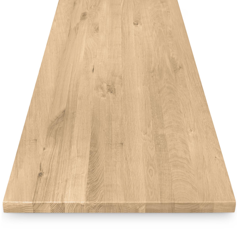 Eiken tafelblad op maat - 4 cm dik (1-laag) - rustiek Europees eikenhout - verlijmd kd 8-12% - 50-120x50-350 cm