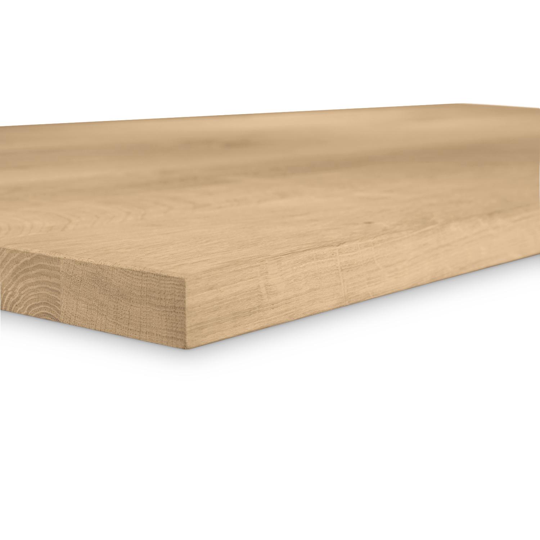 Eiken tafelblad op maat - 4 cm dik (1-laag) - rustiek Europees eikenhout GEBORSTELD - verlijmd kd 8-12% - 50-120x50-350 cm