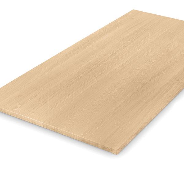 Eiken tafelblad op maat - 2 cm dik (1-laag) - foutvrij eikenhout - GEBORSTELD