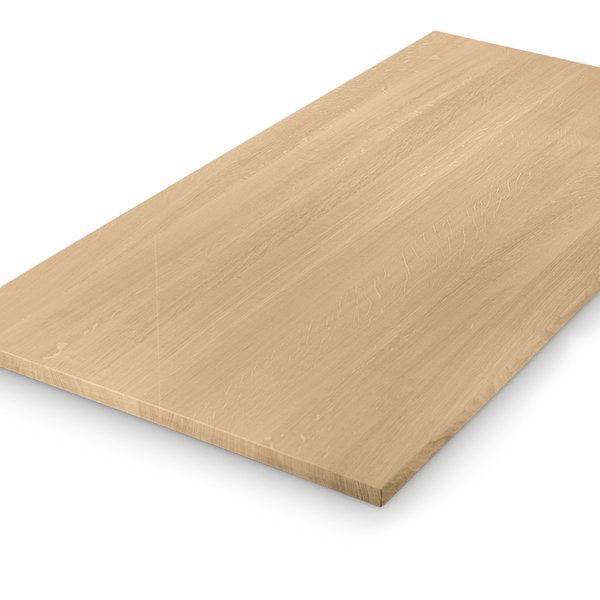 Eiken tafelblad op maat - 3 cm dik (1-laag) - foutvrij eikenhout - GEBORSTELD