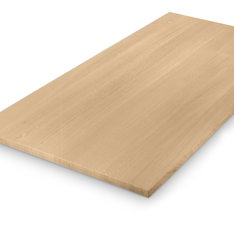Eiken tafelblad op maat - 3 cm dik (1-laag) - foutvrij Europees eikenhout GEBORSTELD- verlijmd kd 8-12% - 50-120x50-350 cm
