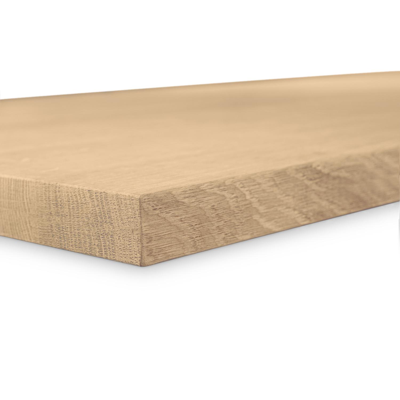 Eiken tafelblad op maat - 4 cm dik (1-laag) - foutvrij Europees eikenhout GEBORSTELD- verlijmd kd 8-12% - 50-120x50-350 cm