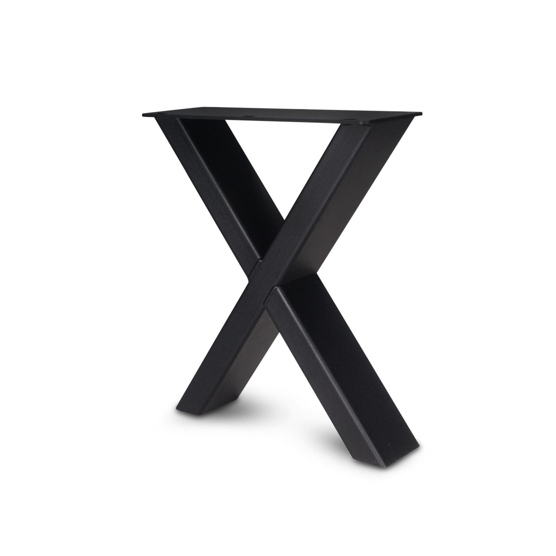 Stalen X-poten salontafel elegant (SET) 4x10 cm - 56 cm breed - 41 cm hoog - X-salontafel / bijzettafel poten - GEPOEDERCOAT zwart