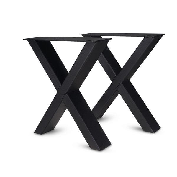Stalen X-poten salontafel elegant (SET) 4x10 cm - 56 cm breed - 41 cm hoog - GECOAT