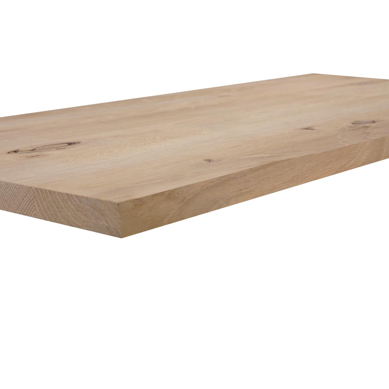 Eiken wandplank zwevend - op maat - 3 cm dik (1-laag) - rustiek - voorgeboord inclusief (blinde) bevestigingsbeugels - verlijmd Europees eikenhout rustiek - kd 8-12% - 15-27x50-300 cm