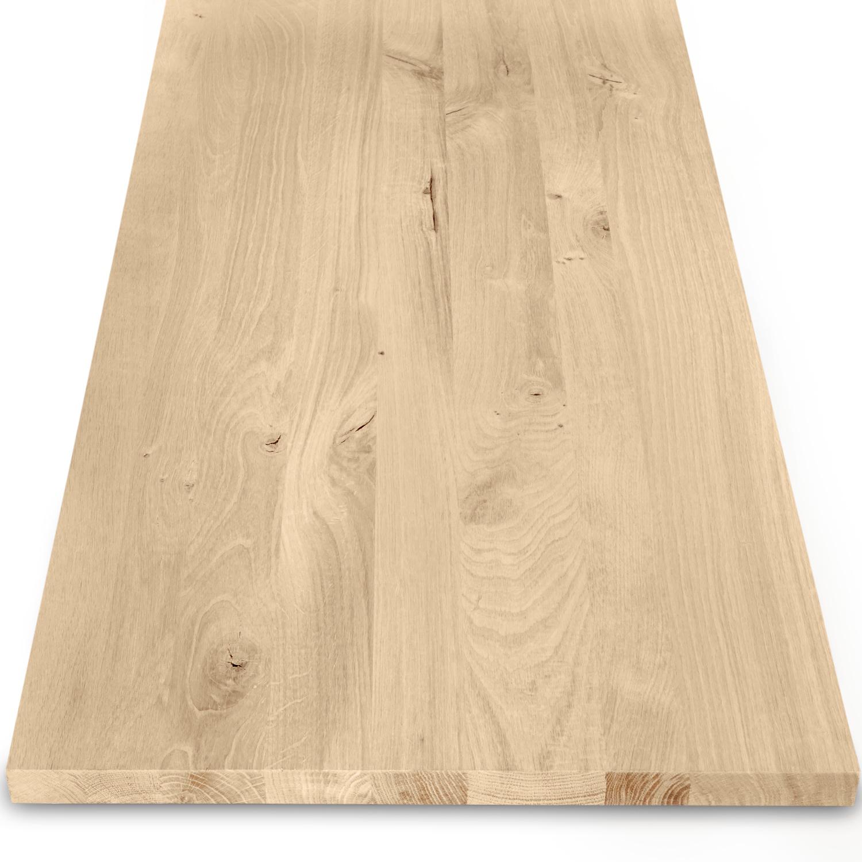 Eiken wastafelblad op maat - incl. gaten - 3 cm dik (1-laag) - rustiek Europees eikenhout - verlijmd kd 8-12% - 15-120x20-350 cm