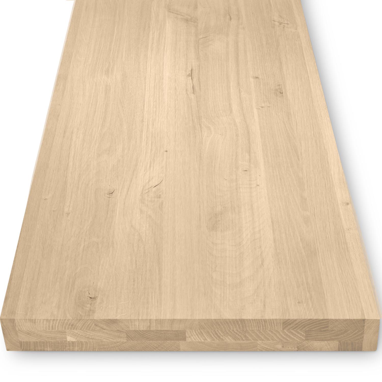 Eiken wastafelblad op maat - incl. gaten - 6 cm dik (3-laags) - rustiek Europees eikenhout - verlijmd kd 8-12% - 15-120x20-350 cm