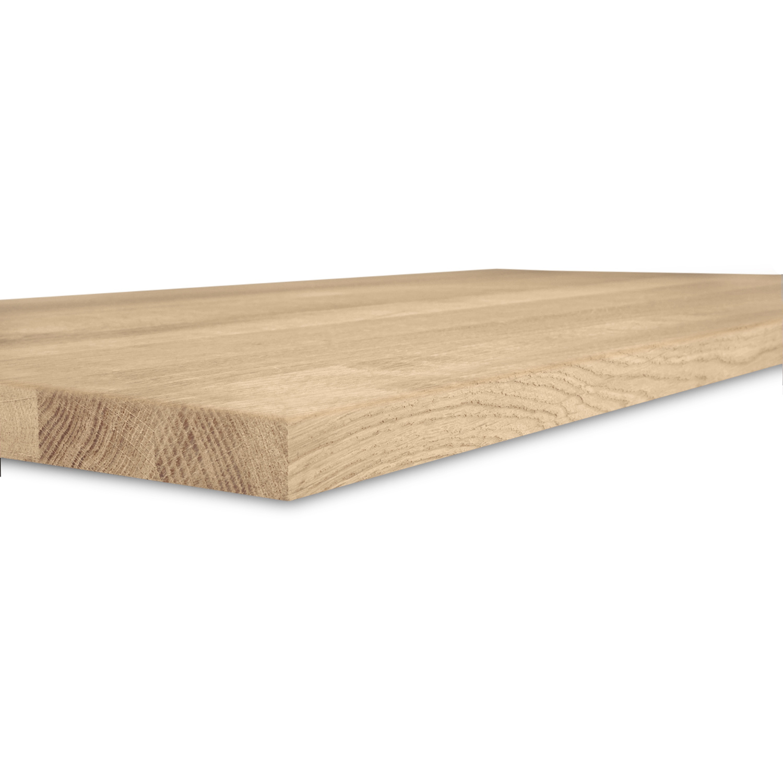 Eiken wastafelblad op maat - incl. gaten - 3 cm dik (1-laag) - foutvrij Europees eikenhout - verlijmd kd 8-12% - 15-120x20-350 cm