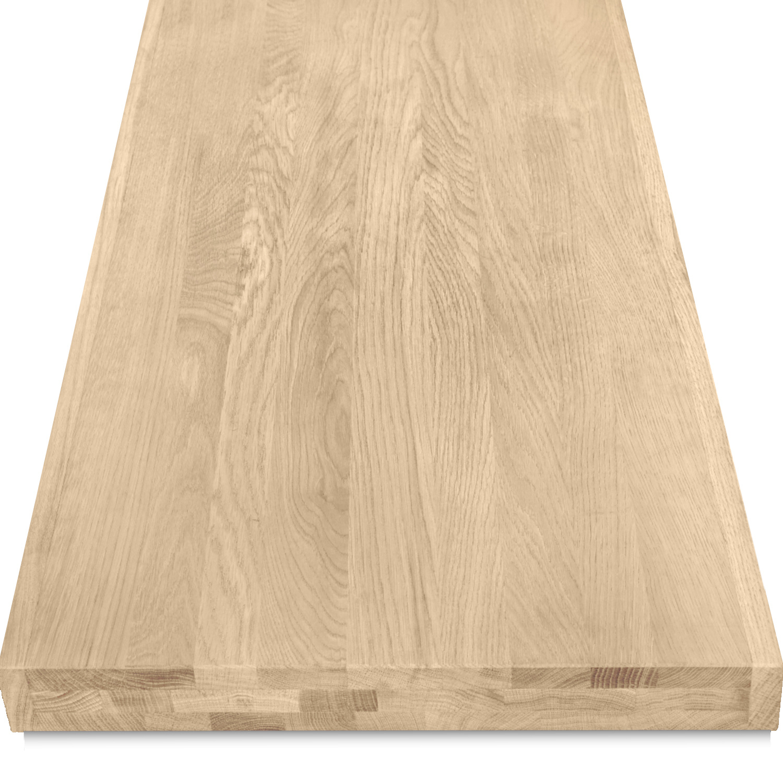 Eiken wastafelblad op maat - incl. gaten - 6 cm dik (3-laags) - foutvrij Europees eikenhout - verlijmd kd 8-12% - 15-120x20-350 cm