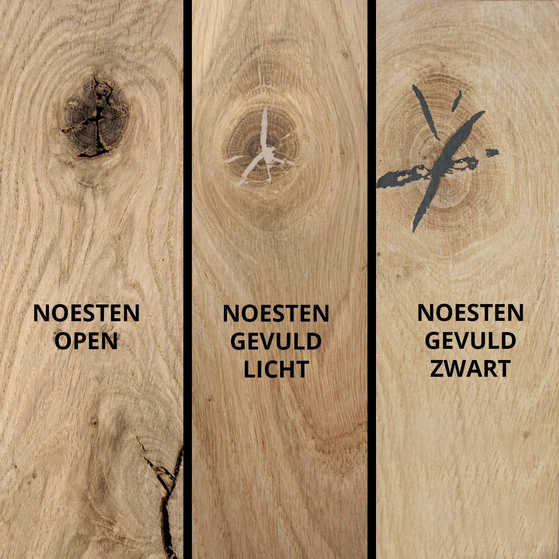 Eiken wandplank zwevend - VERJONGDE RAND - op maat - 3 cm dik (1-laag) - rustiek - voorgeboord inclusief (blinde) bevestigingsbeugels - verlijmd Europees eikenhout rustiek - kd 8-12% - 15-27x50-300 cm