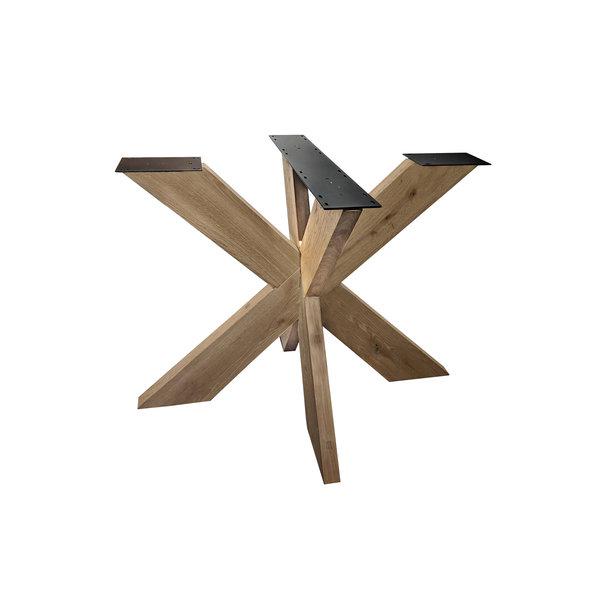 Eiken onderstel Dubbele X (3D) - 16x6 cm - 130x130 cm - 72 cm hoog - Rustiek eikenhout - OPGEBORSTELD
