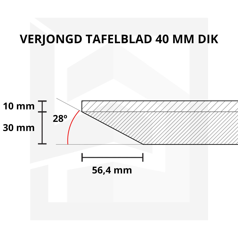 Eiken  tafelblad verjongd - op maat - 4 cm dik (2-laags) - met verjongde rand - foutvrij Europees eikenhout - verlijmd kd 8-12% - 50-120x50-350 cm - GEBORSTELD