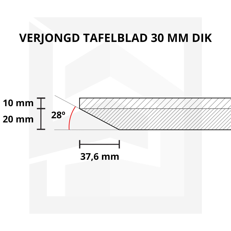 Eiken tafelblad foutvrij verjongd - op maat - 3 cm dik (1-laag) - met verjongde rand - foutvrij Europees eikenhout - verlijmd kd 8-12% - 50-120x50-350 cm - GEBORSTELD