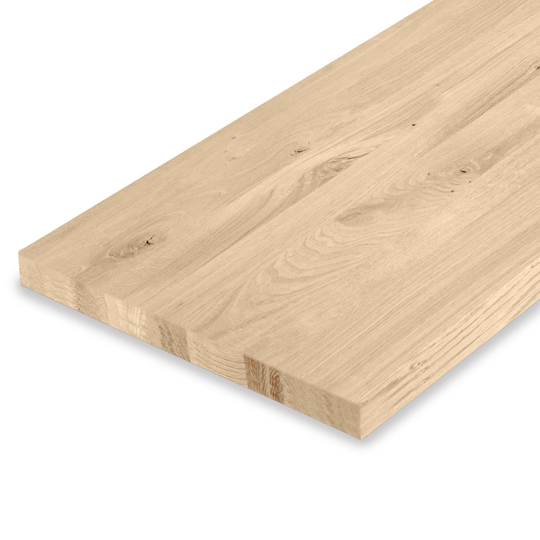 Eiken wastafelblad op maat - incl. gaten - 4 cm dik (1-laag) - rustiek Europees eikenhout - geborsteld - verlijmd kd 8-12% - 15-120x20-350 cm