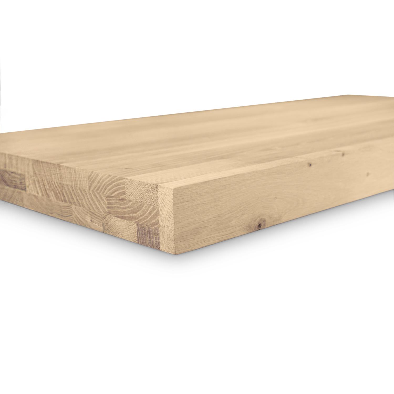 Eiken wastafelblad op maat - incl. gaten - 6 cm dik (3-laags) - rustiek Europees eikenhout - geborsteld - verlijmd kd 8-12% - 15-120x20-350 cm