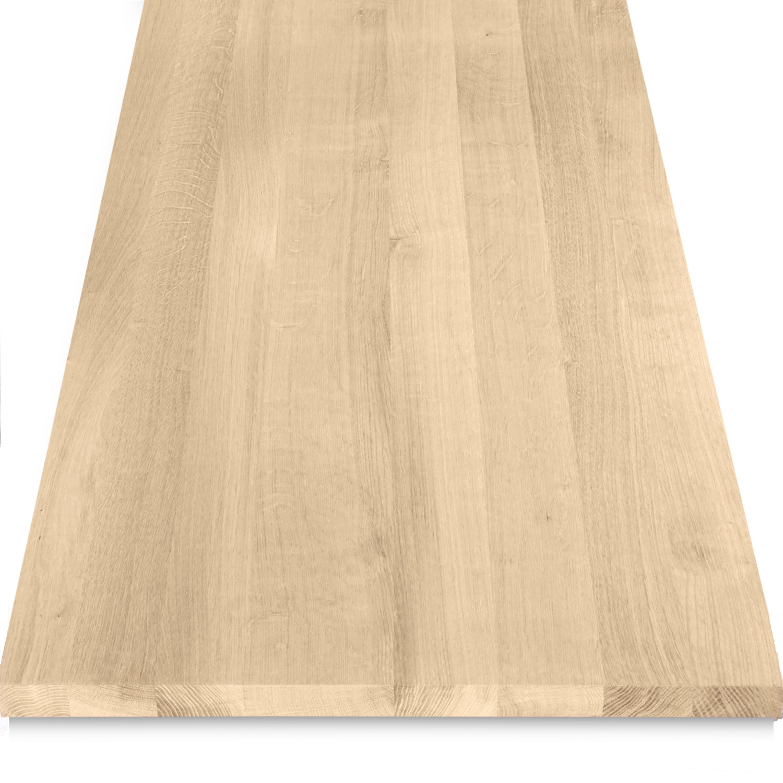 Eiken wastafelblad op maat - incl. gaten - 3 cm dik (1-laag) - foutvrij Europees eikenhout - geborsteld - verlijmd kd 8-12% - 15-120x20-350 cm