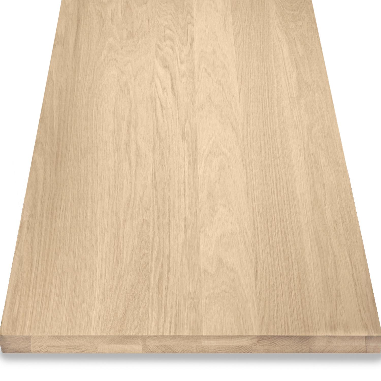 Eiken wastafelblad op maat - incl. gaten - 4 cm dik (2-laags) - foutvrij Europees eikenhout - geborsteld - verlijmd kd 8-12% - 15-120x20-350 cm