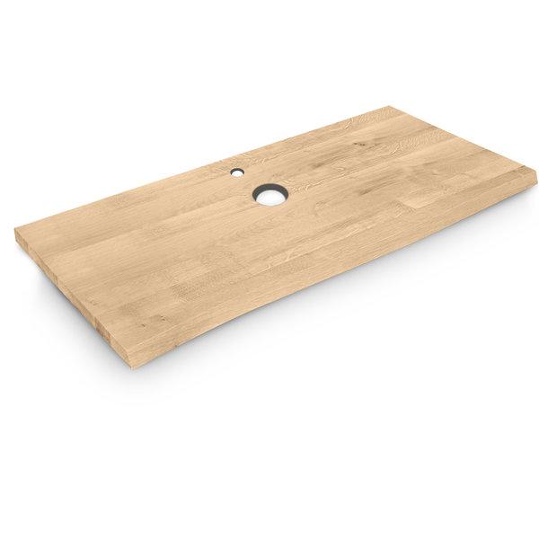Eiken wastafelblad op maat - BOOMSTAM - incl. gaten - 3 cm dik (1-laag) - rustiek eikenhout - geborsteld
