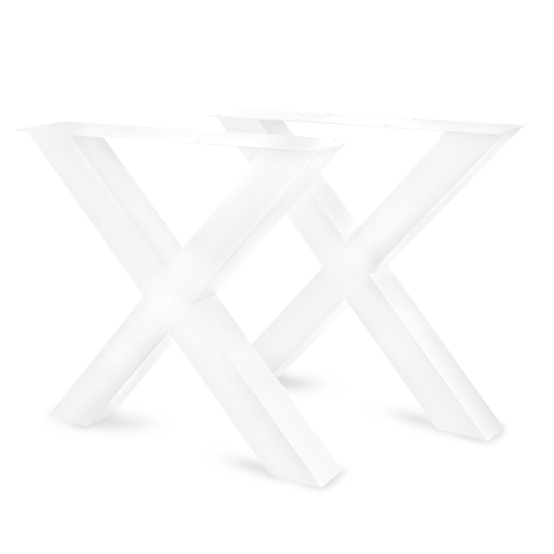 Stalen X-tafelpoten (SET) 10x10 cm - 78 cm breed - 72 cm hoog - Kruispoot GEPOEDERCOAT zwart - antraciet - wit