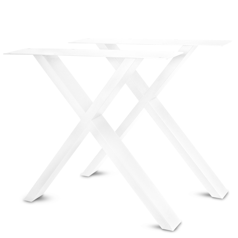 Stalen X-tafelpoten ELEGANT (SET) 4x10 cm - 77-78 cm breed - 72 cm hoog - Kruispoot GEPOEDERCOAT zwart - antraciet - wit