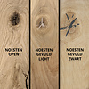 Eiken blad / paneel op maat - 2 cm dik (1-laag) - incl. uitsparing - rustiek Europees eikenhout - verlijmd kd 8-12% - 15-120x20-350 cm