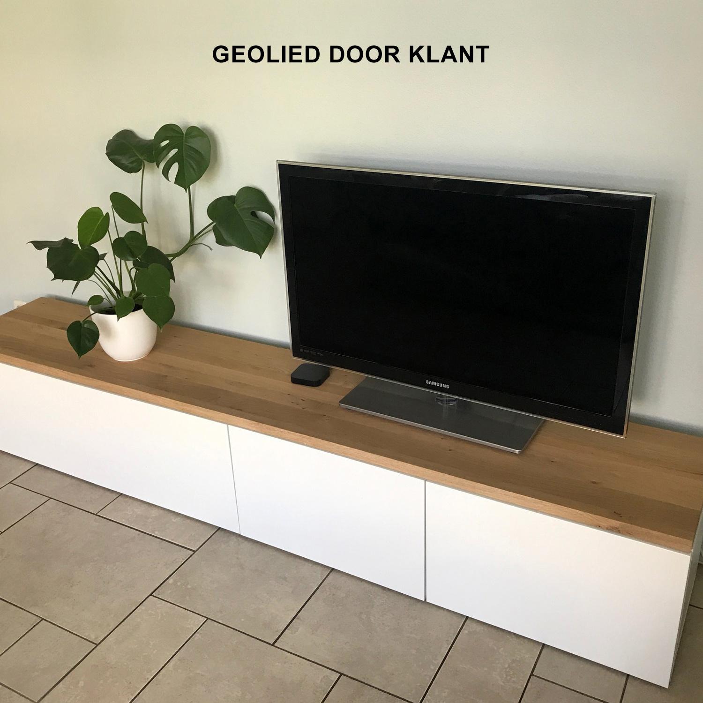 Eiken blad / meubelblad op maat - 4 cm dik (1-laag) - incl. uitsparing - rustiek Europees eikenhout - verlijmd kd 8-12% - 15-120x20-350 cm